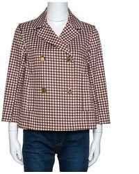 Louis Vuitton Brown Gingham Check Detachable Sleeve Short Coat