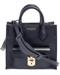 Balenciaga Dark Blue Leather Mini Padlock All Afternoon Tote