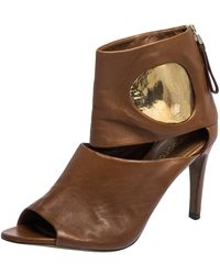 Sergio Rossi Brown/gold Leather Cut Out Booties