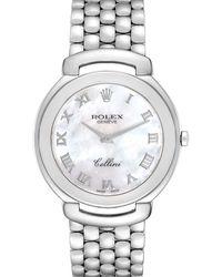 Rolex Mop 18k White Gold Cellini 6623 Wristwatch 37.5 Mm