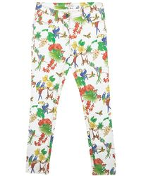 Etro White Bird And Floral Print Skinny Jeans