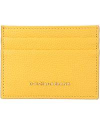 Dolce & Gabbana Yellow Leather Card Case