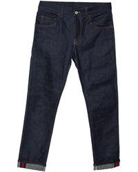 Gucci Indigo Denim Web Stripe Cuff Detail Tapered Jeans - Blue