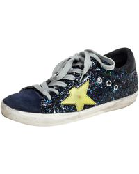 Golden Goose Deluxe Brand Navy Blue Suede And Glitter Super Star Trainers