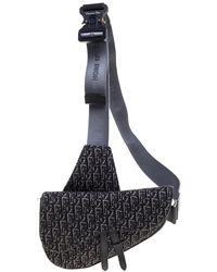 Dior Black/grey Oblique Jacquard Saddle Bag