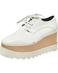 Stella McCartney White Faux Leather Elyse Platform Derby