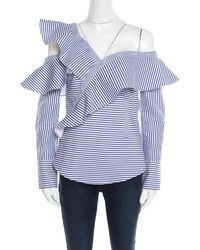 Self-Portrait Blue And White Striped Ruffle Detail Off Shoulder Asymmetric Shirt