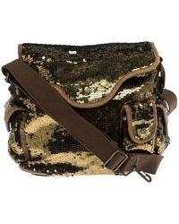 Sonia Rykiel Gold Sequin And Fabric Shoulder Bag - Metallic