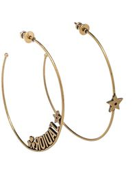 Dior Aged Gold Tone J'a Hoop Earrings - Metallic