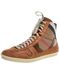 Burberry Brown Leather And Canvas High-top Trainer