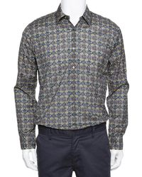 Fendi Grey Monster Eyes Printed Cotton Button Front Shirt