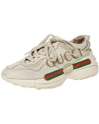 Gucci Ivory Leather Rhyton Vintage Logo Platform Trainers - White