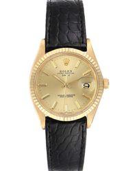 Rolex Champagne 14k Yellow Gold Date Automatic Vintage 1503 Wristwatch 34 Mm - Metallic