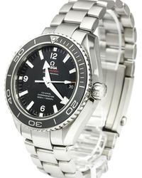 Omega Black Stainless Steel Seamaster Planet Ocean Co-axial Men's Wristwatch 45.5mm