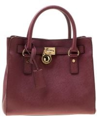 Michael Kors - Michael Burgundy Leather Hamilton Tote - Lyst