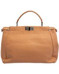 Fendi Peach Selleria Leather Large Peekaboo Top Handle Bag - Orange