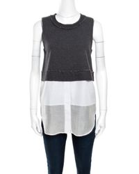 Derek Lam - 10 Crosby Grey And White Knit Striped Layered Sleeveless Blouse - Lyst