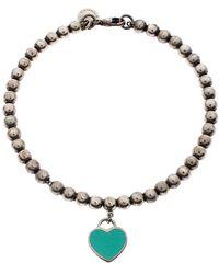 Tiffany & Co. Return To Tiffany Enamel Heart Tag Silver Beads Bracelet - Metallic