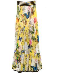 Roberto Cavalli Yellow Wonderland Printed Silk Flounce Bottom Maxi Skirt