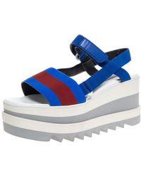 Stella McCartney Blue/red Fabric Striped Platform Sandals