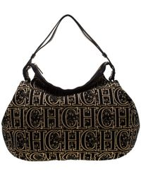 Carolina Herrera Black/gold Monogram Velvet And Leather Hobo