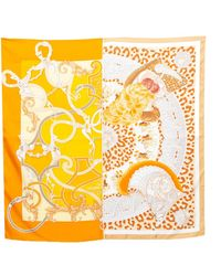 Hermès Hermès Orange Plumets Du Roy Silk Scarf