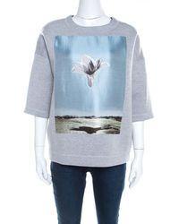 Dior Grey Neoprene Floral Embroidered Short Sleeve Oversized Jumper