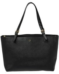 Tory Burch Black Leather Large York Buckle Tote