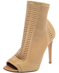 Gianvito Rossi Beige Knit Fabric Vires Peep Toe Ankle Boots - Natural