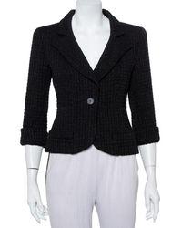 Chanel Black Lurex Tweed Button Front Cropped Blazer