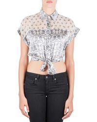 Balmain White Paisley Printed Silk Semi-sheer Tie-knot Crop Top L
