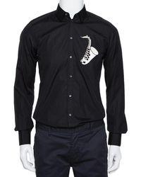 Dolce & Gabbana Black Cotton Sequin Embellished Jazz Gold Shirt