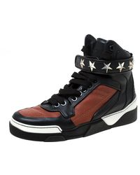 Givenchy Black/brown Leather Tyson Star Studded High Top Sneakers Size 43