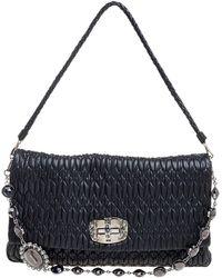 Miu Miu Black Matelasse Nappa Leather Crystal Shoulder Bag