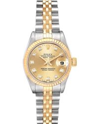 Rolex Champagne Diamonds 18k Yellow Gold And Stainless Steel Datejust 69173 Wristwatch 26 Mm - Metallic