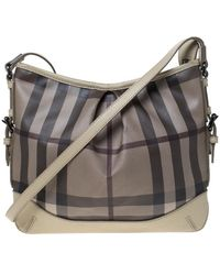 Burberry Beige/grey Smoked Check Pvc And Leather Hartham Shoulder Bag - Gray