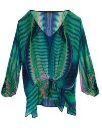 Roberto Cavalli Roberto Cavallli Green Printed Silk Kaftan Blouse