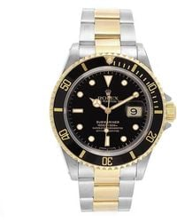 Rolex Black 18k Yellow Gold And Stainless Steel Submariner 16613 Men's Wristwatch 40mm