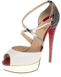 Christian Louboutin Multicolour Python And Leather Crisscross Peep Toe Court Shoes