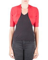 Hervé Léger Lipstick Red Knit Cropped Brilynn Jacket S