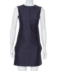 Celine Navy Blue Brocade Sleeveless Sheath Dress
