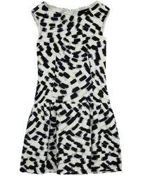 Carolina Herrera - Monochrome Drop Waist Dress Size L - Lyst