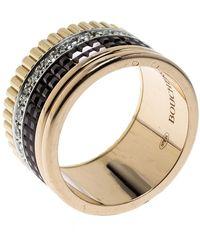 Boucheron Quatre Classique Diamond 18k Three Tone Gold Large Band Ring Size 53 - Metallic
