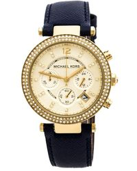 Michael Kors Yellow Gold Plated Stainless Steel Leather Parker Glitz Mk2280 Women's Wristwatch 39 Mm - Blue