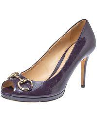 Gucci - Purple Ssima Patent Leather Horsebit Peep Toe Pumps - Lyst