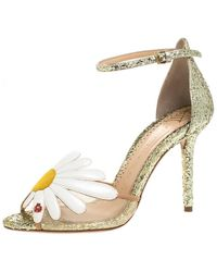 Charlotte Olympia Gold/white Glitter And Leather Margherita Ankle Strap Sandals - Metallic