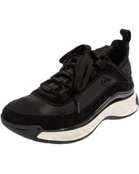Chanel Black Suede And Nylon Sport Trail Low Top Trainers