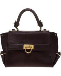 Ferragamo Burgundy Sofia Leather Top Handle Bag - Multicolour