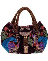 Fendi Multicolour Embroidered Squirrel Velvet Spy Bag