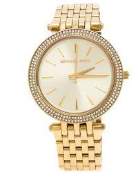 MICHAEL Michael Kors Michael Kors Yellow Gold Plated Stainless Steel Darci Glitz Mk3191 Womens Wristwatch 39 Mm - Metallic